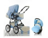 "15 teiliges Qualitäts-Kinderwagenset 3 in 1 ""FLASH"": Kinderwagen + Buggy + Autokindersitz – all inklusive Paket in Farbe HELLBLAU-CREME"