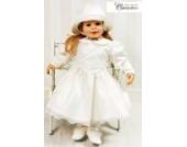 Taufkleid Festkleid Baby Kleid Langarm Creme Ivory Elfenbein klassisch Gr. 74 Modell 4396