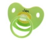 3 Stk. Namensschnuller JAN / Größe 1 (0-6 Monate) / Kieferform / Latex / farblich sortiert (hellblau / grün / blau)