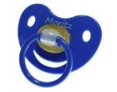 3 Stk. Namensschnuller MORITZ / Größe 1 (0-6 Monate) / Kieferform / Latex / farblich sortiert (hellblau / grün / blau)