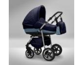 Akjax Fobos 3in1 - Kombikinderwagen - Kinderwagen - Buggy - Babyschale -Nr.36 dunkelblau / himmelblau