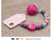 Baby SCHNULLERKETTE mit NAMEN | Schnullerhalter mit Wunschnamen - Mädchen Motiv Eule in pink türkis…