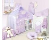 8tlg Babybettwäsche (violett) Schlafmütze Bär 135x100cm Kinderbettwäsche Bettwäsche Himmel Nestchen Baby