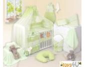 8tlg Babybettwäsche (grün) Schlafmütze Bär 135x100cm Kinderbettwäsche Bettwäsche Himmel Nestchen Baby