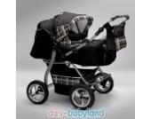 Akjax Gemini Zwillingskinderwagen - Geschwisterwagen - Zwillingsbuggy - Babyschale - Nr.03 schwarz / karo beige