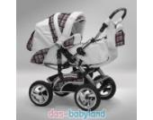 Akjax Traper 3in1 - 40 Farben - Kombikinderwagen - Kinderwagen - Buggy - Babyschale - Nr.02 weiß / karo grau
